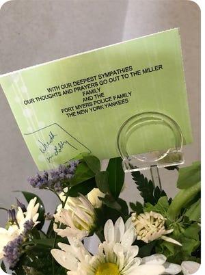 Flowers from the New York Yankees baseball organization for Adam Jobbers-Miller.