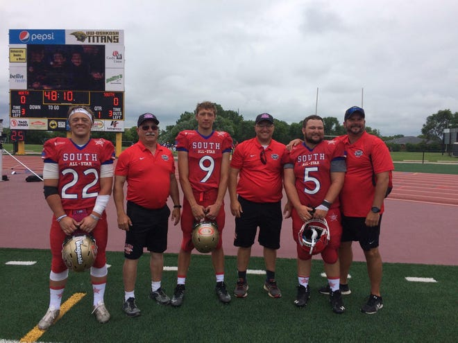 Local All-Stars Players and coaches from Lena/STAA and Wausaukee participated in the 8-man game at the Wisconsin High School All Star Football Game on July 20 at UW-Oshkosh. Children's Hospital of Wisconsin is the sponsor and recipient of the annual charity game. The All Star games consist of North and South Teams in the large schools Divisions 1,2,and 3, Small Schools Divisions 4, 5, 6, and 7, and 8-man Teams. The Lena/STAA and Wausaukee were part of the South All-Start team, which was defeated 36-18, but the event raised more than $487,000 for the Children's Hospital of Wisconsin. Left to right are Tyler Stuart Lena/STAA, Titans Co-Head Coach Dale Lange, Christian Hornick Lena/STAA, Wausaukee Rangers Head Coach Grant Russ, Aiden Shaw of Wausaukee and Rangers assistant Coach Dave Lindbeck. The South All Star head coach was Corey Richert from Oakfield.
