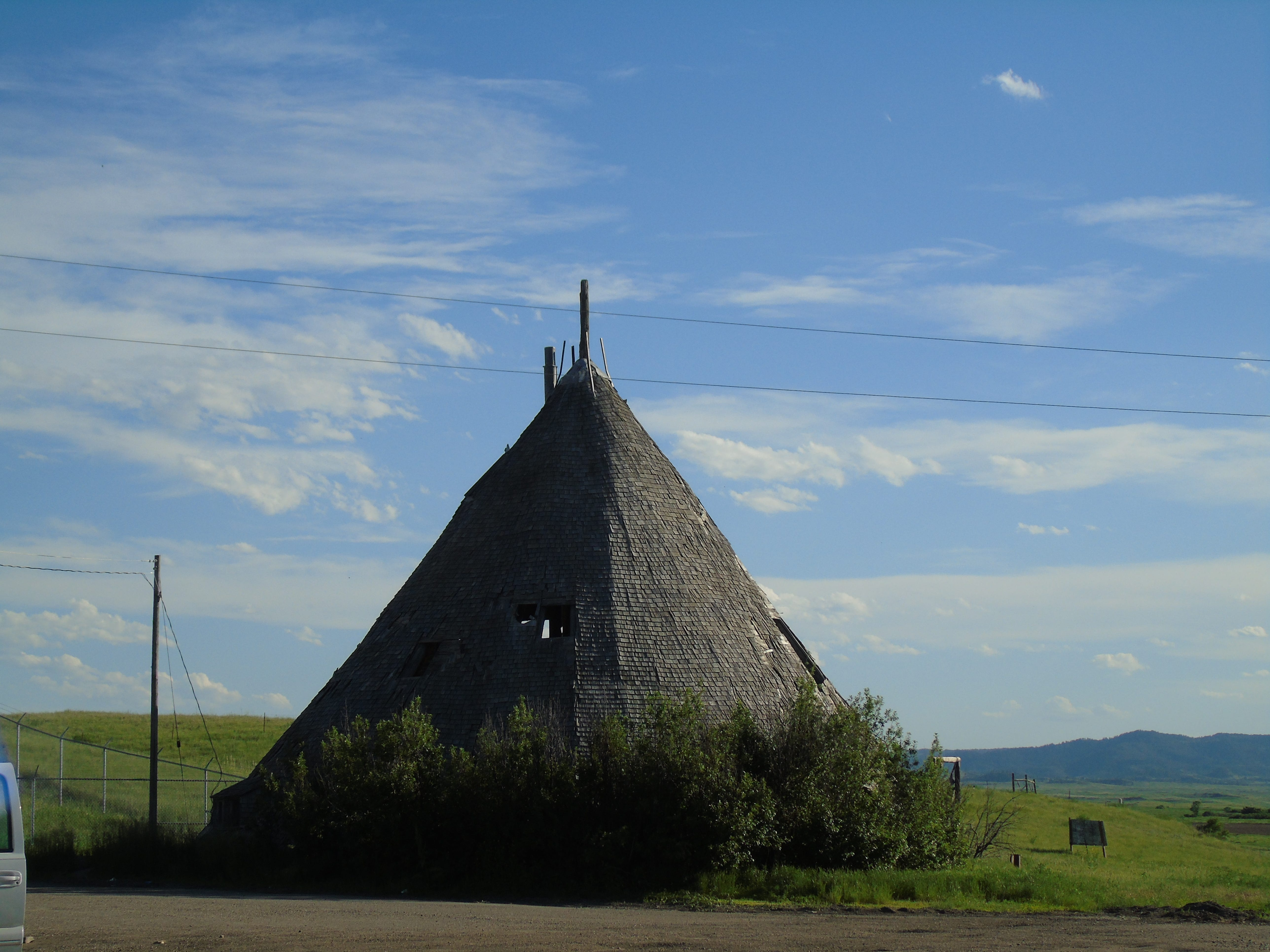 A wooden teepee in Busby on the Northern Cheyenne Indian Reservation