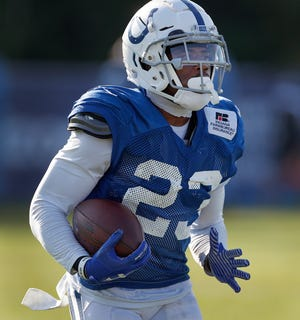 Indianapolis Colts cornerback Kenny Moore (23) during the Colts training camp at Grand Park in Westfield on Monday, August 6, 2018.
