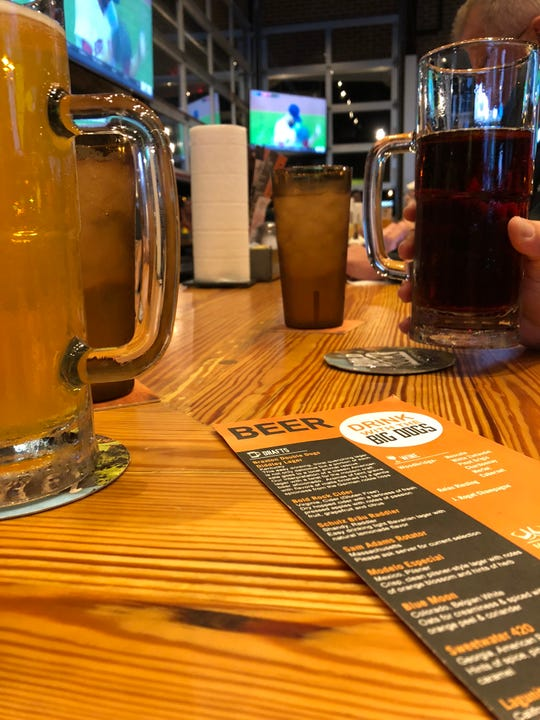 A solid mix of local brews (Schulz Brau, Yee-Haw and more are represented) and popular domestics line Double Dogs' draft list.