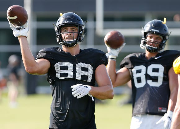Tight end Cole Herdman during football practice Monday, August 6, 2018, at Purdue.