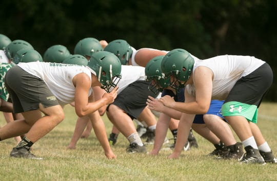 Howell football players hit the practice field on Monday, Aug. 6, 2018 looking to redeem themselves after a 2-7 season.