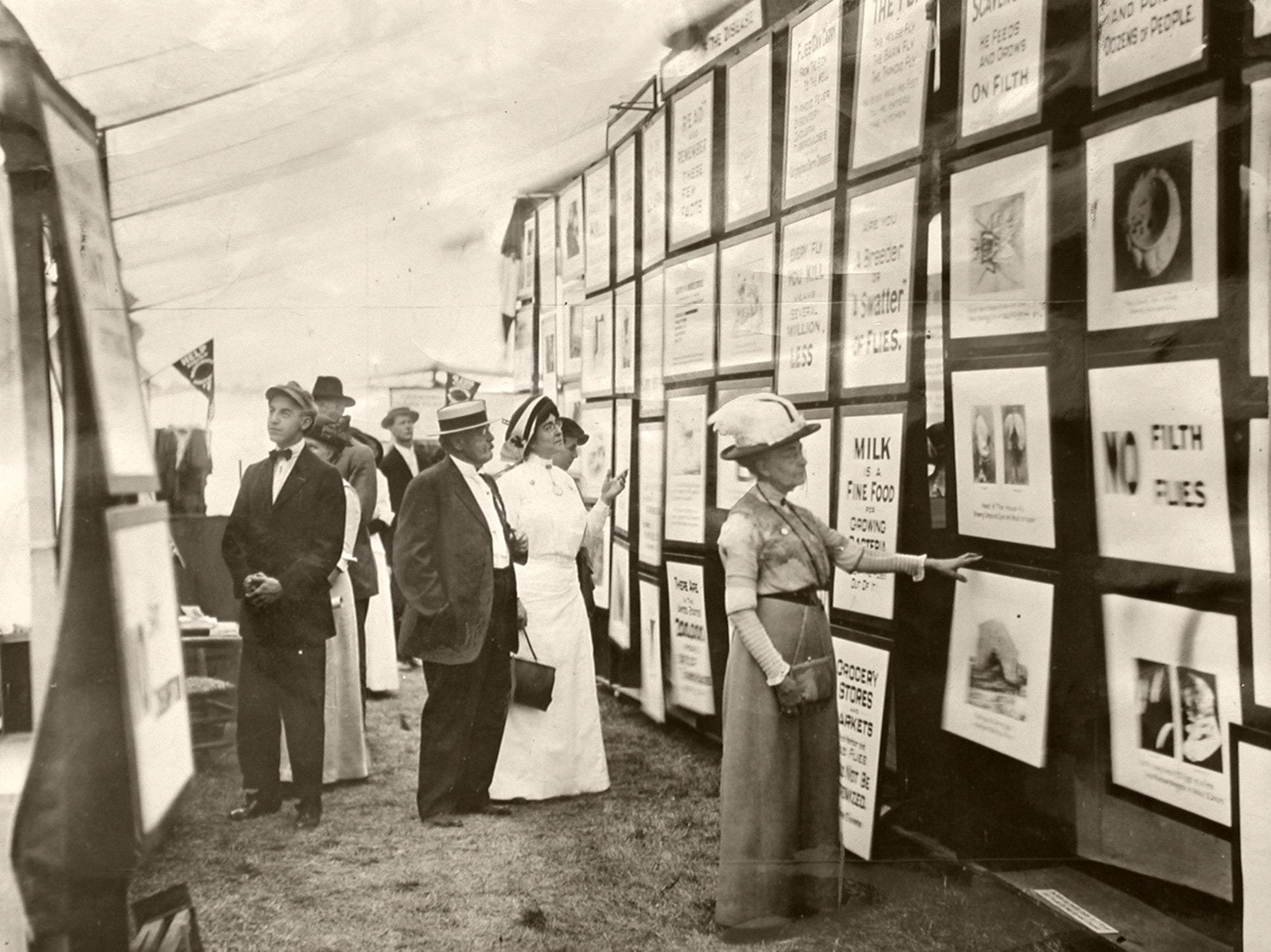 At the 1922 Kentucky State Fair visitors looked over posters, including dozens that advocated swatting flies to keep them from breeding. The fair, which actually began in 1902, wasn't held in 1904, and it was canceled during two years of World War II.