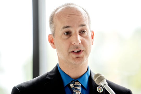 Mayor Andy Schor is pictured here, speaking during an Aug. 6, 2018 news conference in Lansing.