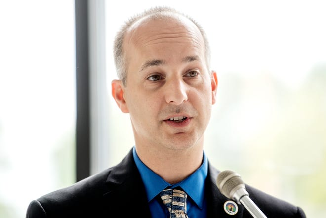 Mayor Andy Schor speaks during a press conference kicking off 'Imagine the Avenue' on Monday, Aug. 6, 2018, at The Venue on Michigan Avenue in Lansing.