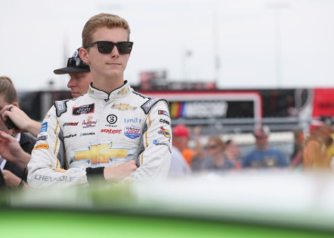 Matt Tifft, driver of the #2 American Ethanol e15 Chevrolet, stands by his car during qualifying for the NASCAR Xfinity Series U.S. Cellular 250 presented by The Rasmussen Group at Iowa Speedway on July 28, 2018 in Newton, Iowa.