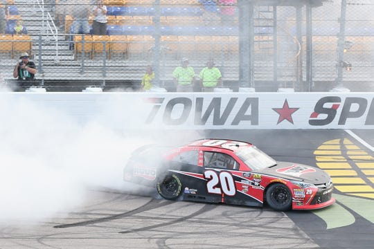 Christopher Bell, driver of the #20 Ruud Toyota, celebrates with a burnout after winning the NASCAR Xfinity Series U.S. Cellular 250 presented by The Rasmussen Group at Iowa Speedway on July 28, 2018 in Newton, Iowa.