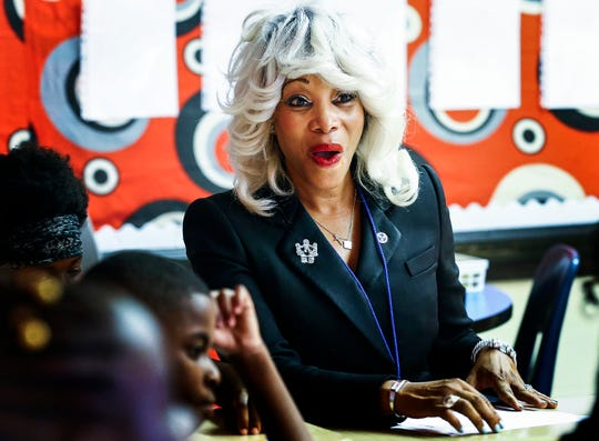 Achievement School District new chief Sharon Griffin chats with students at Frayser-Corning Achievement Elementary on the first day of school.