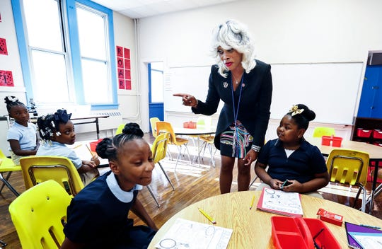 Achievement School District new chief Sharon Griffin chats with students at Georgian Hills Achievement Elementary on the first day of school.