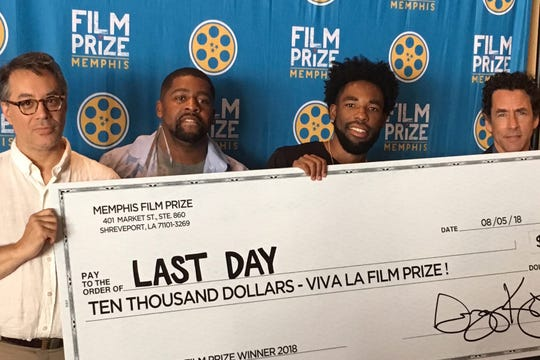 Memphis Film Prize local coordinator David Merrill, actor Ricky D. Smith, director Kevin Brooks and Film Prize founder Gregory Kallenberg at Sunday's award event,