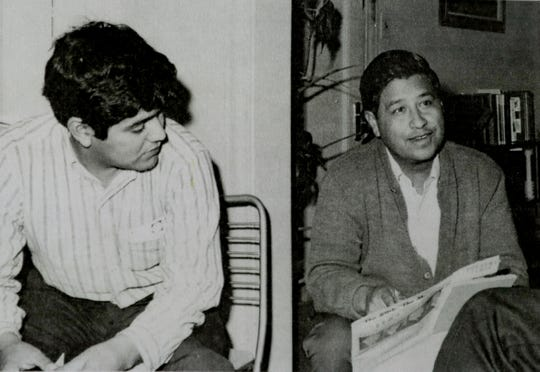 Jesus Salas (left) and Cesar Chavez in Chicago in 1967 meet after the 80 mile march from Wautoma to Madison protesting the living in working condition of migrant farmers.