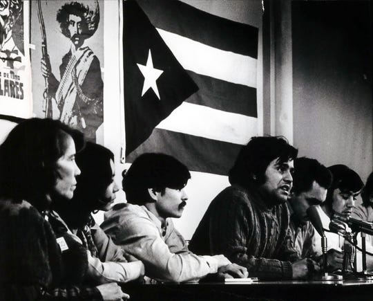Spokesmen Jesus Salas (at microphone) and other leaders of Milwaukee's Latin community at a press conference March 5, 1971.