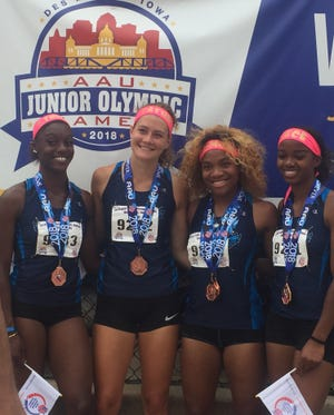 The 400-meter relay team Mikayla Jackson, Tatum Straw, Armoni Brown and Ja'Cey Simmons took fourth place at the AAU Junior Olympic Games in Iowa.