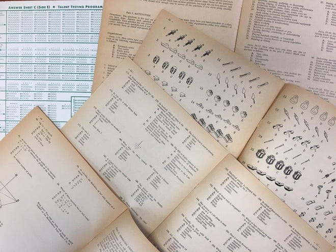 Test booklets from the original Project Talent survey, which surveyed about 400,000 high school students in 1960, show a variety of questions.