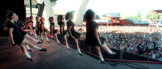 1999: Trinity Irish Dancers perform before a packed Irish Fest crowd at Maier Festival Park.