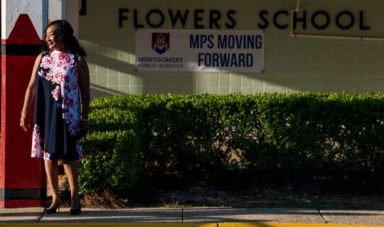 Montgomery School Superintendent Ann Roy Moore looks on as Flowers Elementary School students arrive for the first day of classes at Montgomery Public Schools in Montgomery, Ala., on Monday, August 6, 2018.