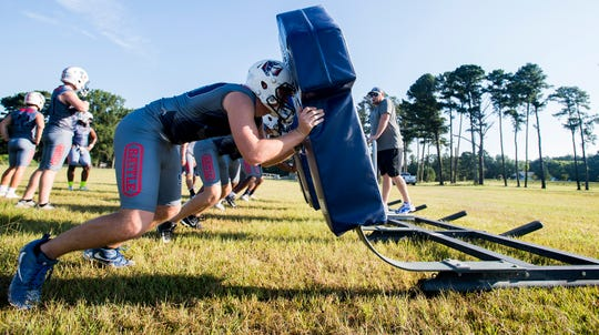 Pike Road holds football practice at Pike Road High School on Monday, August 6, 2018, in Pike Road, Ala.