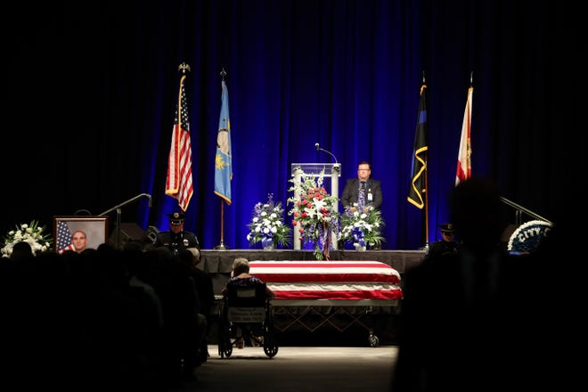 A funeral service was held Monday, Aug. 6, 2018, for Fort Myers police officer Adam Jobbers-Miller at Germain Arena.