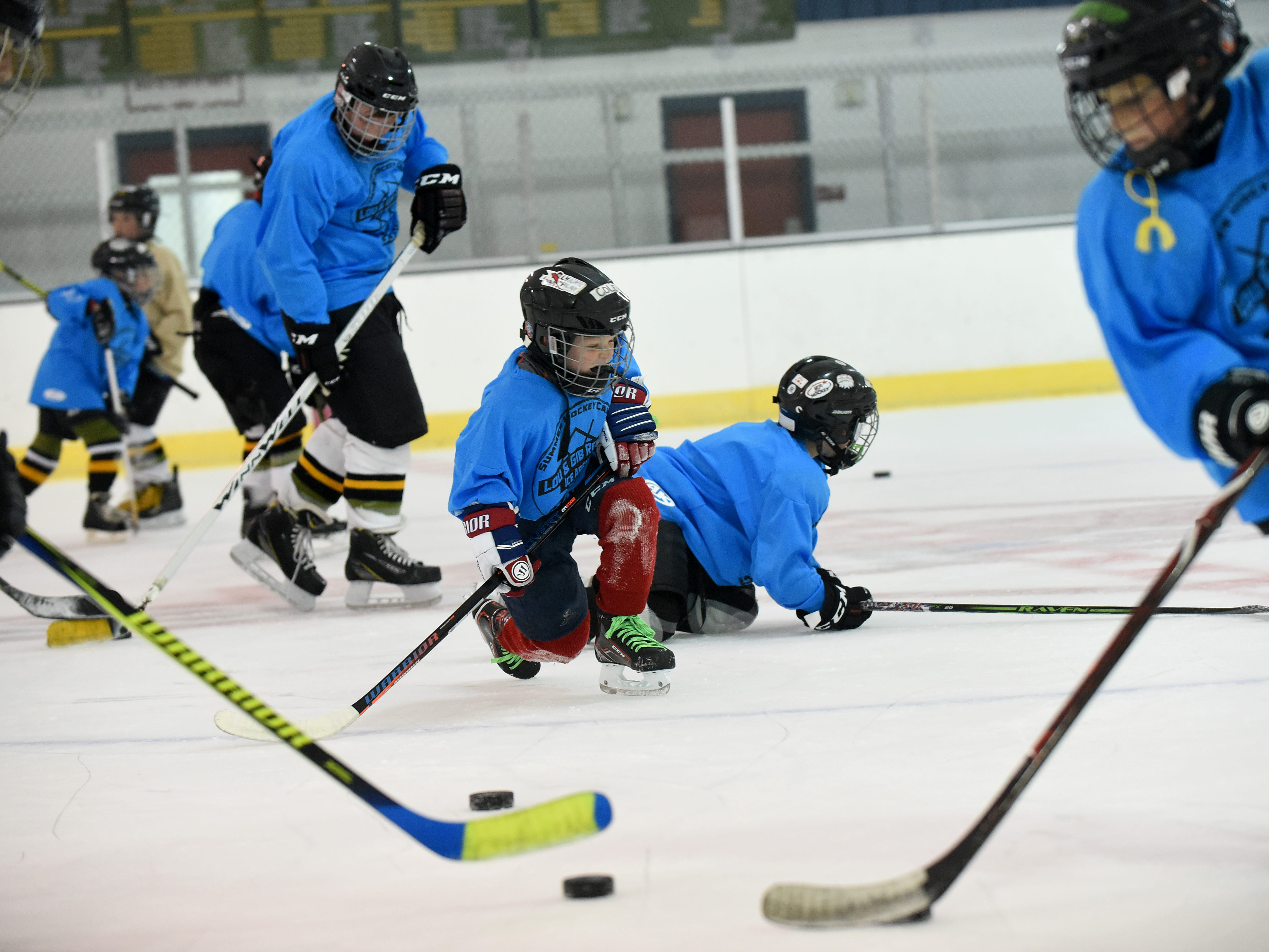 Youth hockey camps Monday morning at Lou & Gib Reese Ice Arena in Newark. Monday was the first day of the season at the ice rink on the fresh ice.