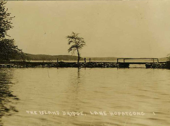 The old bridge to Bertrand Island on Lake Hopatcong, N.J. was demolished to make way for the construction of the North Jersey region's first roller coaster in 1925.