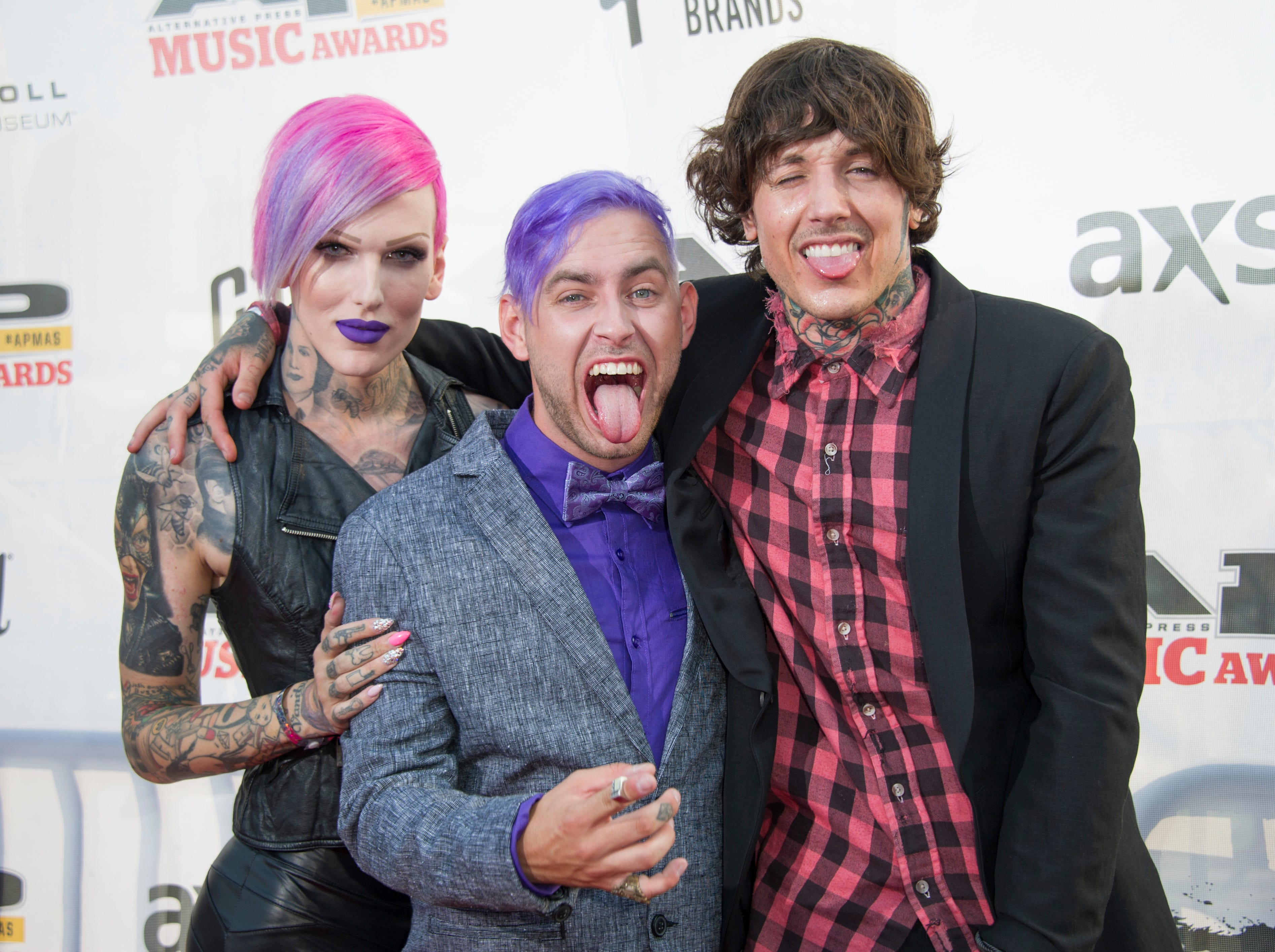 Oli Sykes, Jeffree Star, and Tyler Carter attend the 2014 AP Music Awards at the Rock And Roll Hall of Fame and Museum at North Coast Harbor on July 21, 2014, in Cleveland. (Photo by Amy Harris/Invision/AP)