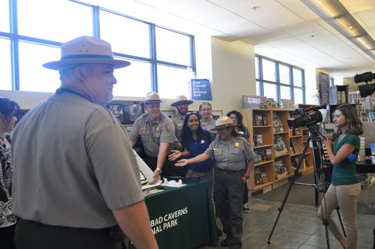 National Park employees, rangers and guests at the ribbon cutting ceremony to celebrate the completion of a project to upgrade the primary elevators at the Carlsbad Caverns National Park August 6.