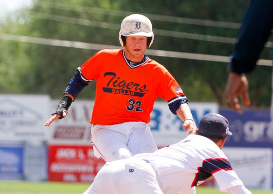 Dallas Tigers' Dillon Carter advances to third base, Monday, July 6, 2018 during Game 1 of the Connie Mack World Series at Ricketts Park in Farmington.