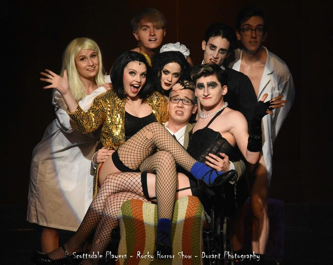 """Scottsdale Community Player's cast of """"Rocky Horror Picture Show"""" at Stagebrush Theatre in Scottsdale."""