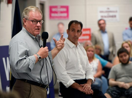 Republicans Scott Wagner and Jeff Bartos hold a town hall event at the Shiloh Fire Hall, Sunday, August 5, 2018. John A. Pavoncello photo