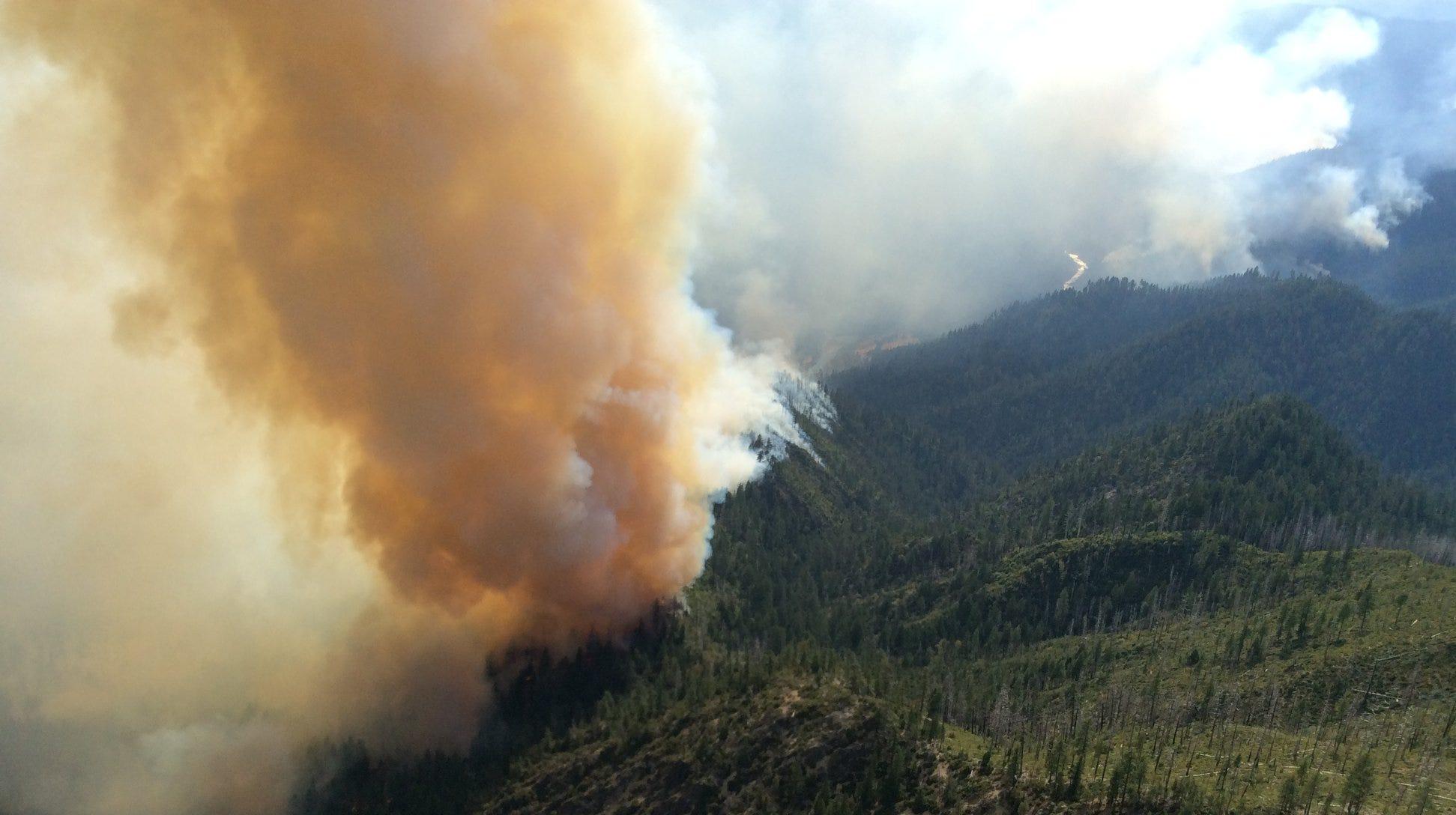Smoke rises over the Klondike Fire.