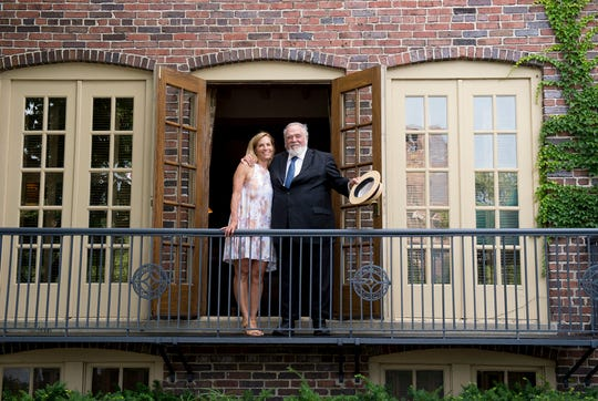 Executive chairmen Herb Kohler on the veranda of The American Club with his daughter, Laura Kohler-Senior VP-HR, STEWARDSHIP & SUSTAINABILITY during the 100th anniversary celebration for the American Club on Sunday, August 5 in Kohler.