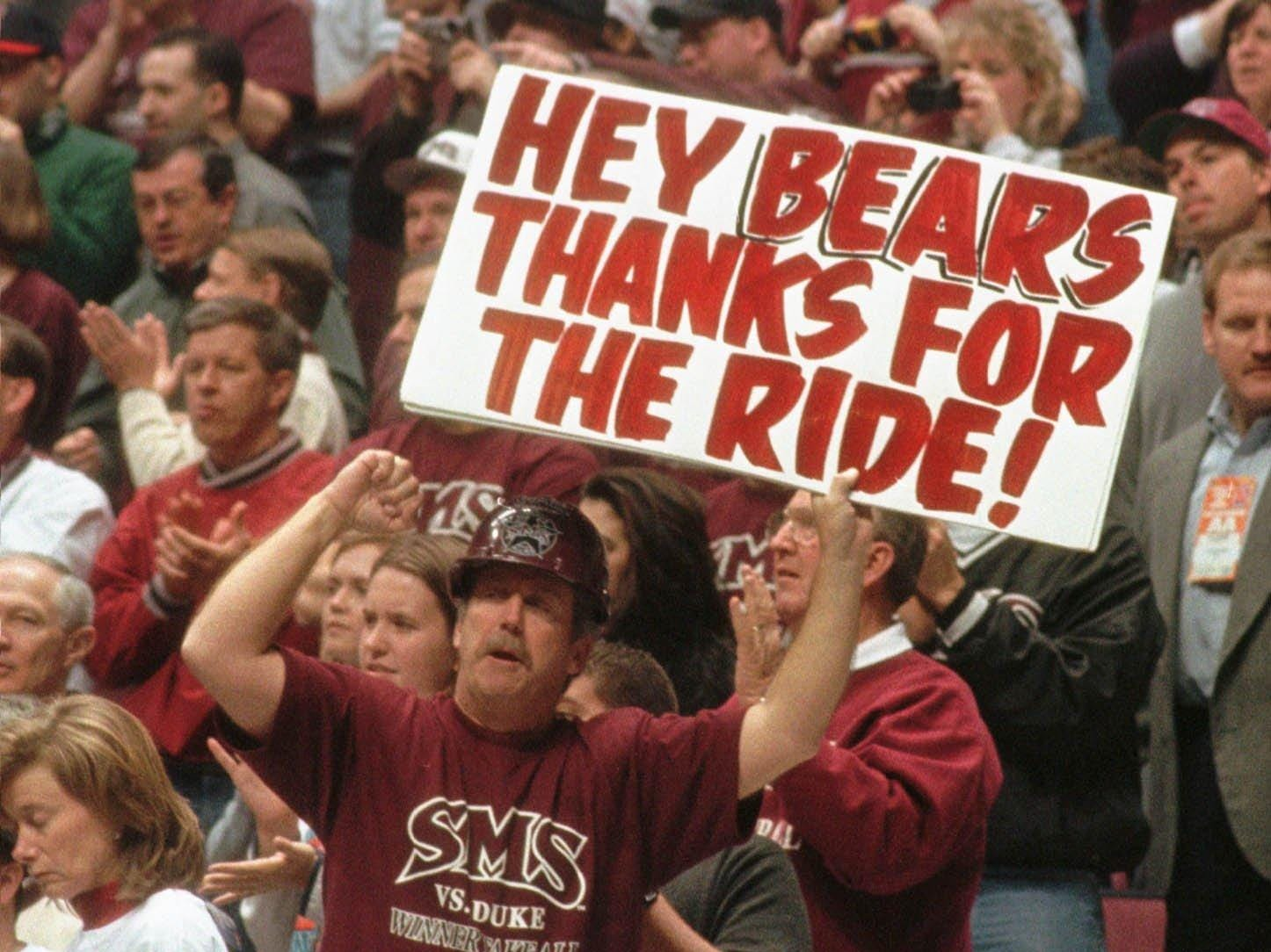-  -SMS fan Marty Prather sums up the Bears NCAA run. Christina Dicken/News-Leader