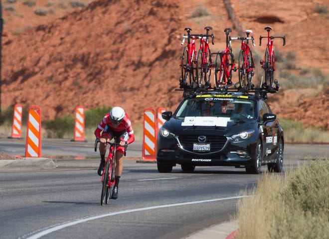Cyclists raced against the clock during the Tour of Utah prologue in St. George on Aug. 6, 2018.