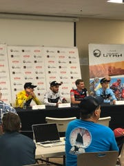 The top four finishers from the 2018 Tour of Utah prologue in St. George (from left to right): winner Tejay Van Garderen, Joseph Rosskopf, Tom Bohli, Neilson Powless