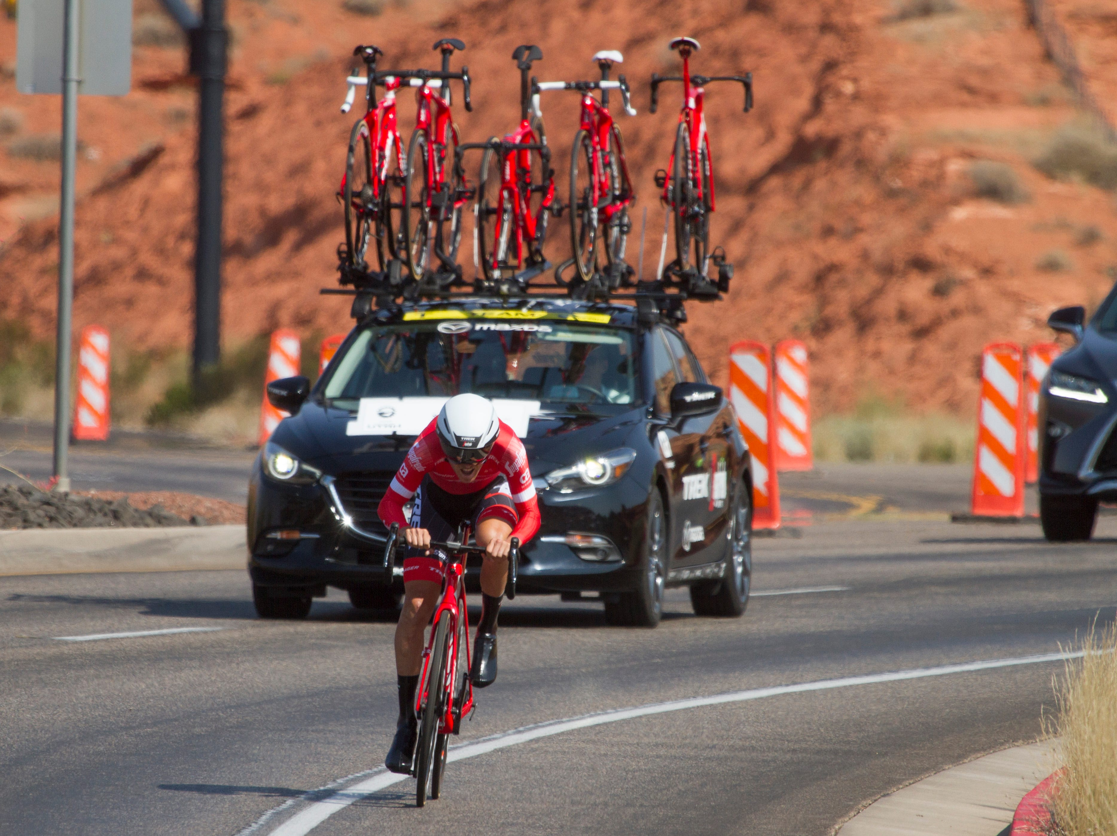 Cyclists compete during the St. George section of the Tour of Utah Monday, Aug. 6, 2018.