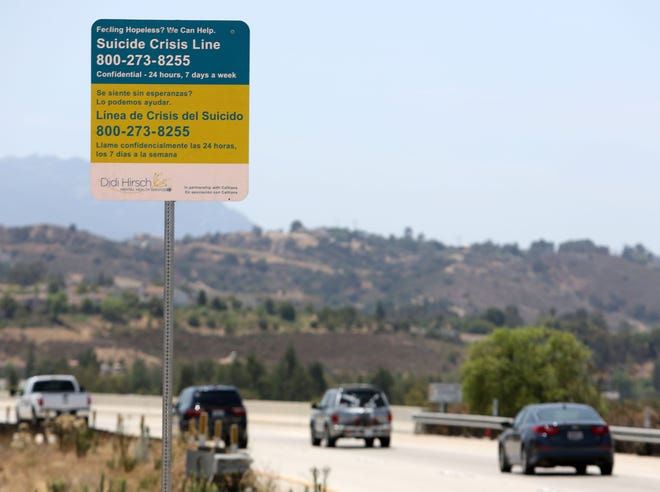 Caltrans installed signs to help prevent suicide on a Moorpark highway overpass.