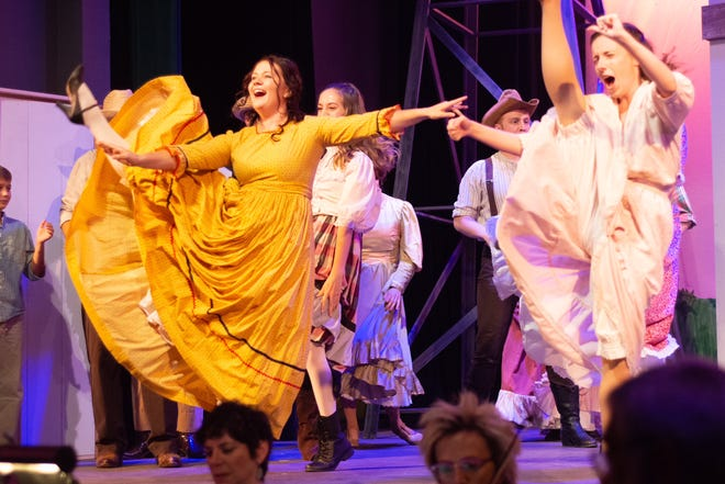 """Ado Annie, played by Alissa Horner, kicks up her heels. """"Oklahoma!"""" plays at the Simi Valley Cultural Arts Center through Sept. 2."""
