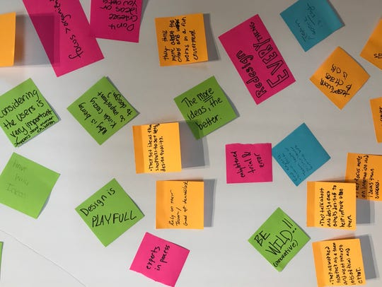 Design thinking often uses post-it notes and brainstorming.