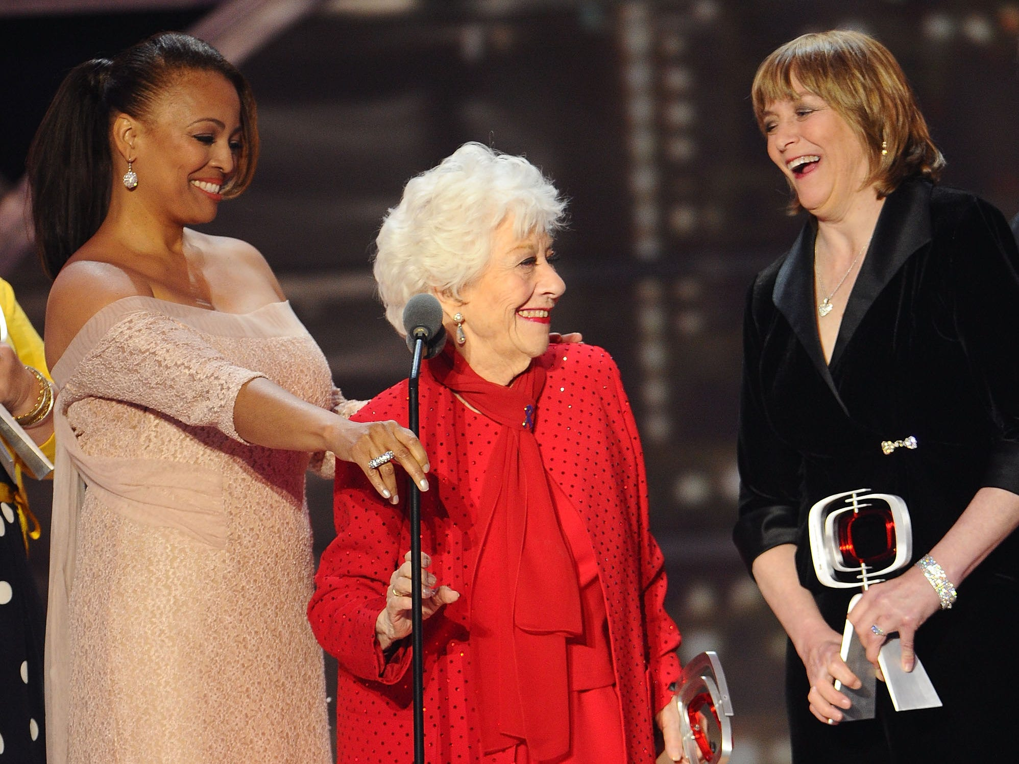 "Kim Fields, left, Charlotte Rae, and Geri Jewell, right, of ""The Facts Of Life""  accept the Pop Culture Award onstage at the 9th Annual TV Land Awards at the Javits Center on April 10, 2011, in New York."