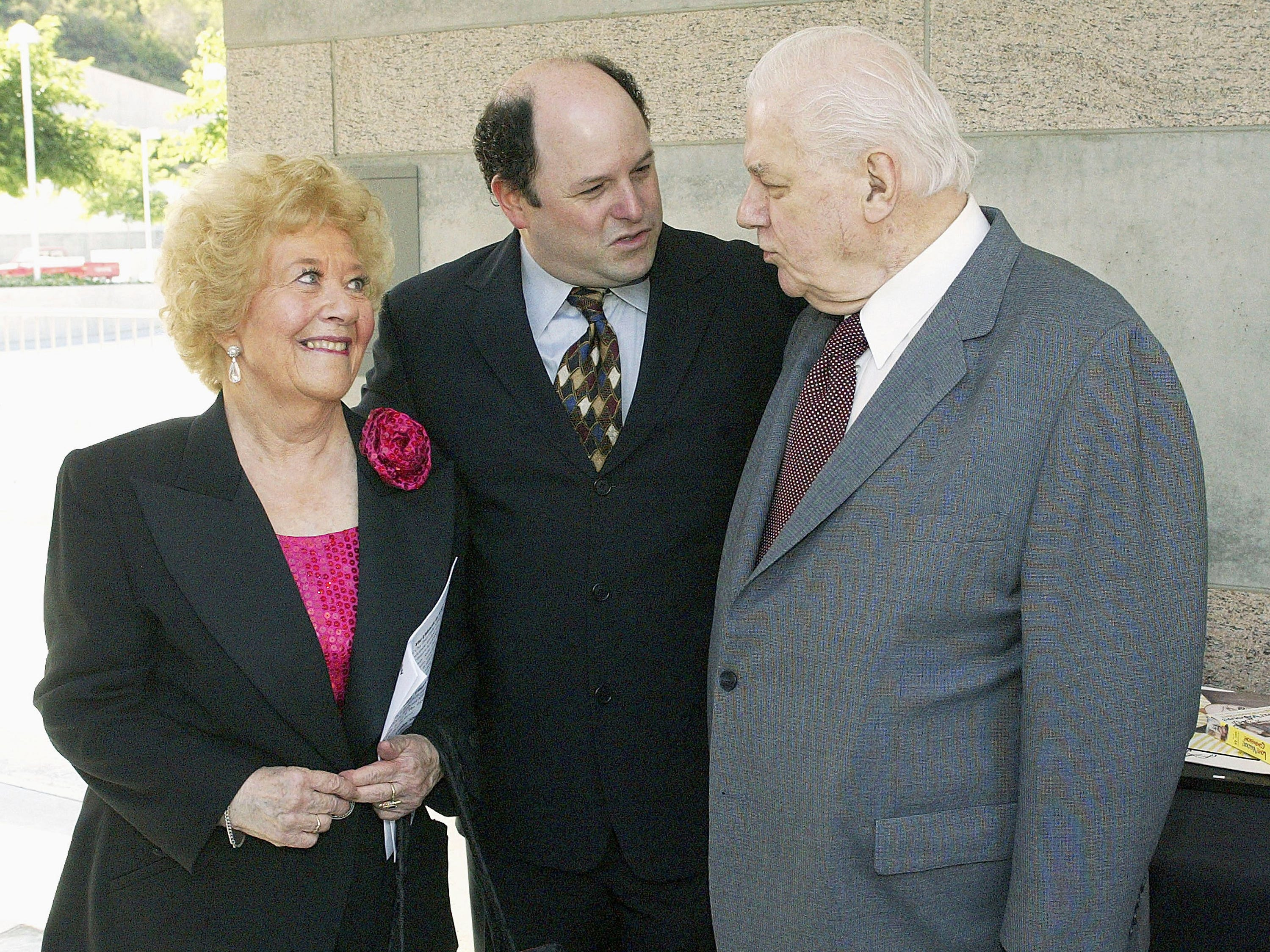 Charlotte Rae, Jason Alexander and Charles Durning, right, attend the 2004 Actors' Fund/Variety Tony Awards Party at the Skirball Cultural Center on June 6, 2004, in Los Angeles.