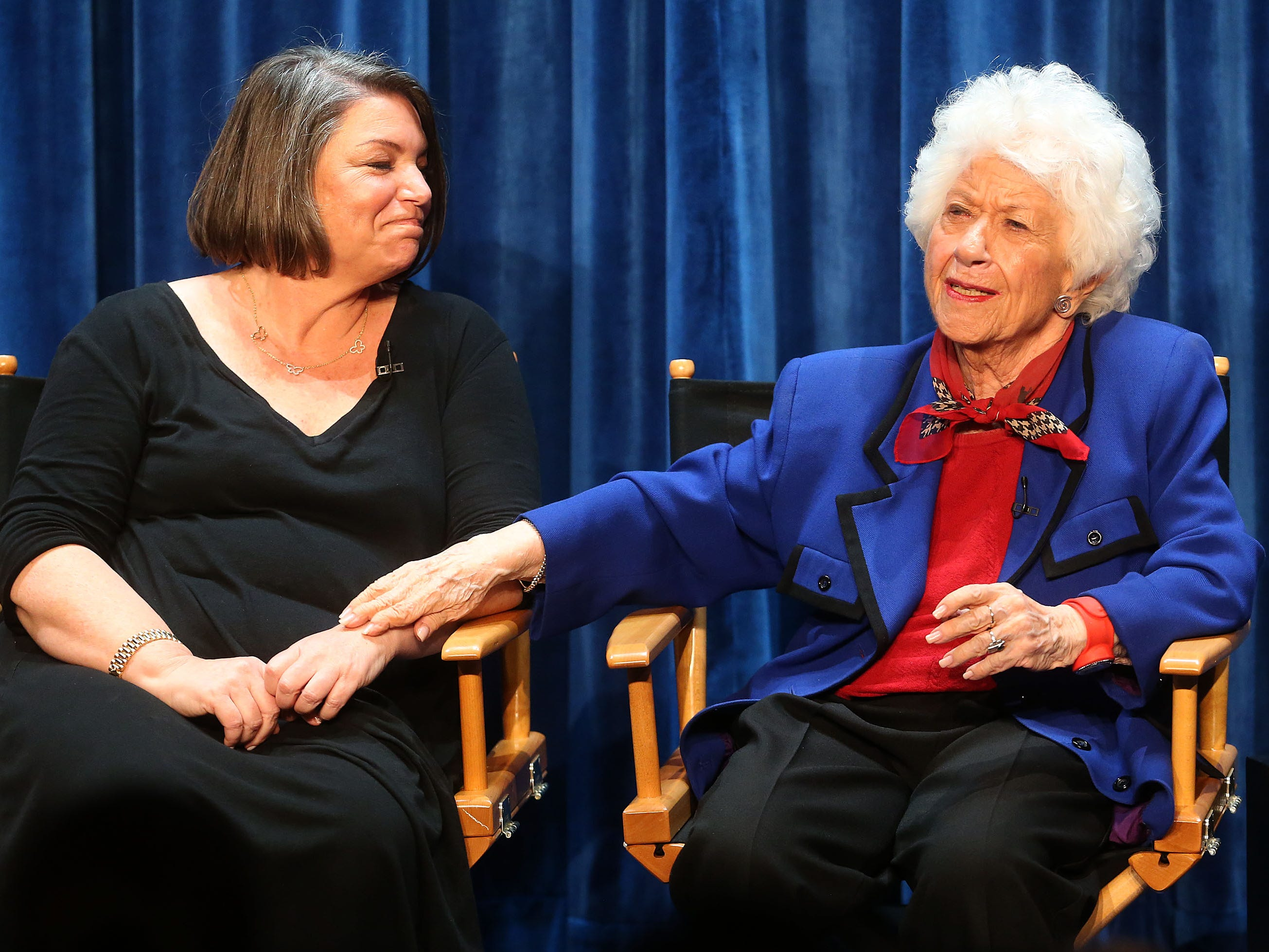 "Mindy Cohn, left, and Charlotte Rae speak during The Paley Center for Media's PaleyFest 2014 Fall TV Preview - ""The Facts of Life"" 35th Anniversary Reunion at The Paley Center for Media on Sept. 15, 2014, in Beverly Hills, Calif."