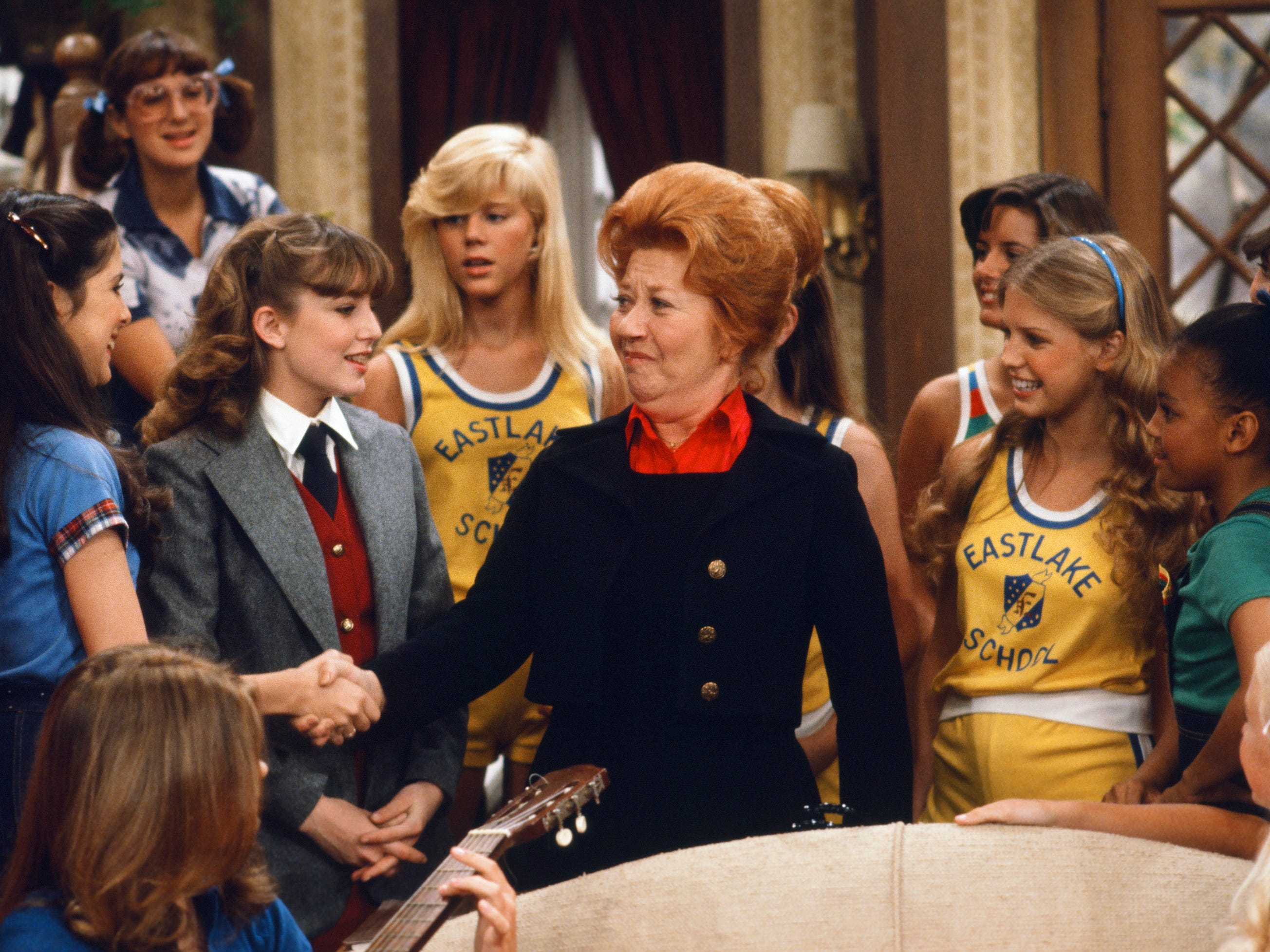 "This DIFF'RENT STROKES scene ""The Girls School"" Episode 24 from 1979, features Felice Schachter as Nancy, Dana Plato as Kimberly Drummond, Charlotte Rae as Edna Garrett, Julie Piekarski as Sue Ann from"