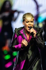 Singer Pink performs in the first Australian concert of her Beautiful Trauma World Tour at Perth Arena on July 3, 2018.