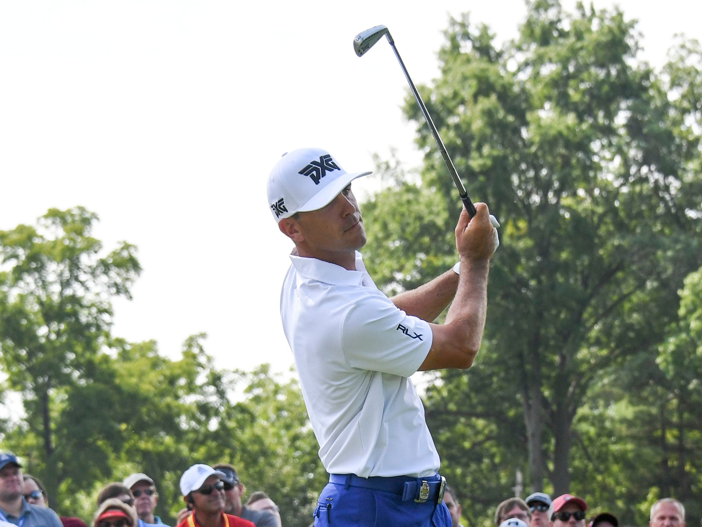 Billy Horschel watches his tee shot on the sixth hole.