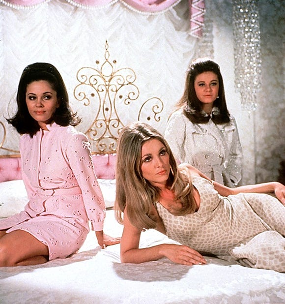 "Sharon Tate, center, with her ""Valley of the Dolls"" co-stars, Patty Duke, right, and Barbara Parkins."