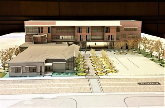 A model of Central Louisiana Technical Community College's new downtown Alexandria campus, which is expected to be ready in 2019.