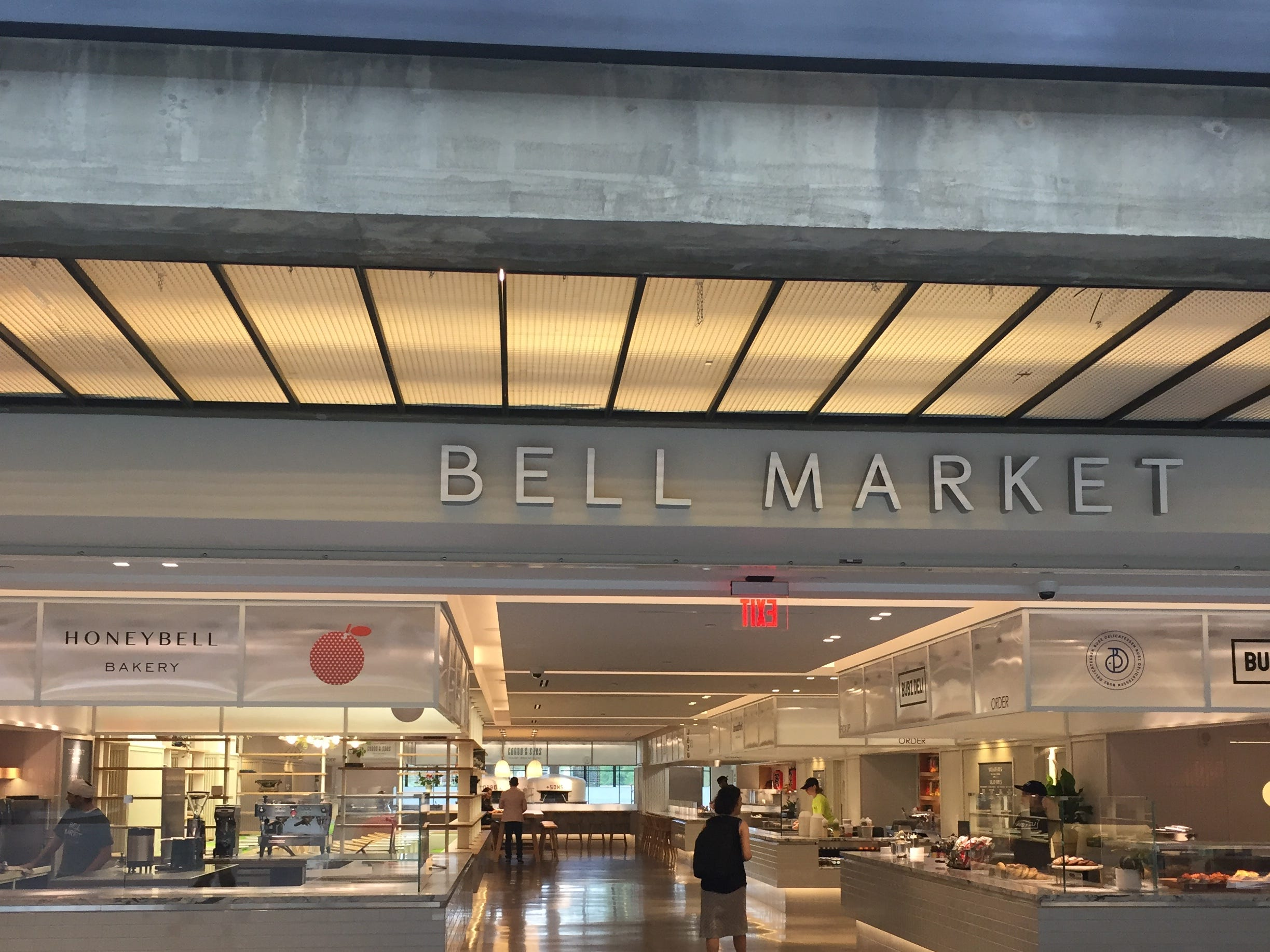 The entrance to Bell Market, a newly opened food hall at Bell Works in Holmdel.