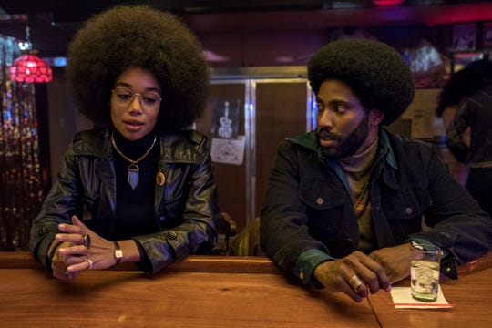 "Laura Harrier stars as Patrice and John David Washington as Ron Stallworth in Spike Lee's ""BlacKkKlansman,"" a Focus Features release."