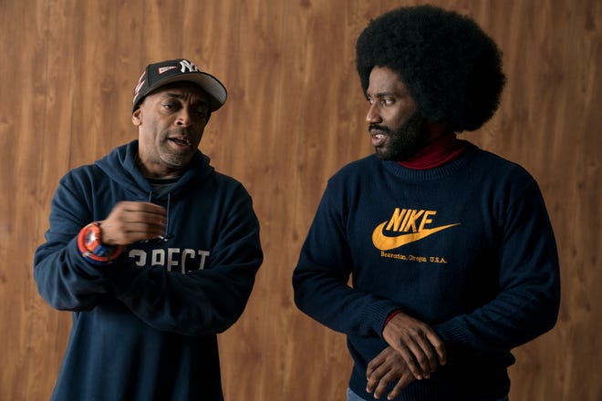 "Director Spike Lee and actor John David Washington on the set of ""BlacKkKlansman,"" a Focus Features release."